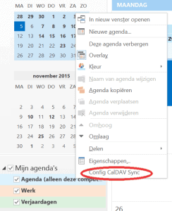 CalDAV Outlook agenda
