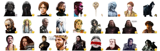 Game of Thrones stickers voor Telegram