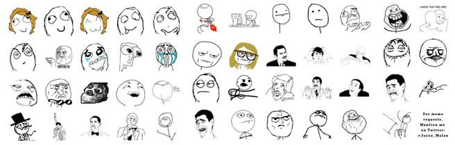 Rage faces stickers voor Telegram